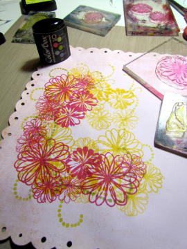 4 STAMP PINK FLOWERS AND MORE GREEN